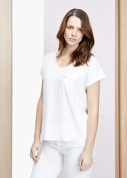 T-shirt modal à empiècement | VIOLETA BY MANGO