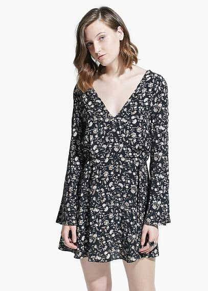 V-neckline boho dress | MANGO