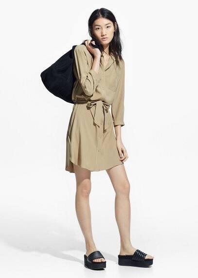 Hemdkleid mit taillenband | MANGO