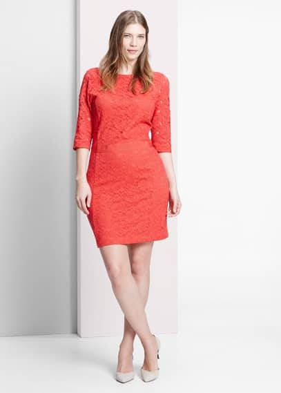 Blond lace fitted dress | VIOLETA BY MANGO