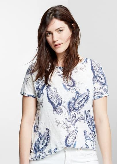 T-shirt paisley linho | VIOLETA BY MANGO