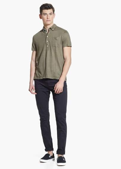 Chest-pocket linen polo shirt | MANGO MAN
