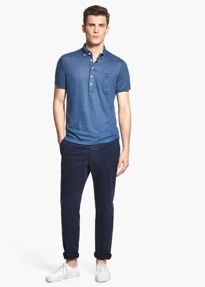 Chest-pocket linen polo shirt | MANGO MAN