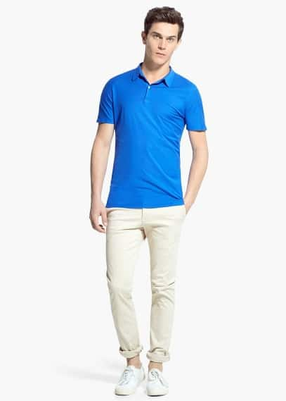 Egyptian-cotton soft polo shirt | MANGO MAN
