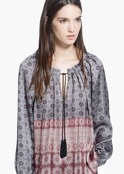 Soepelvallende blouse met print | MANGO