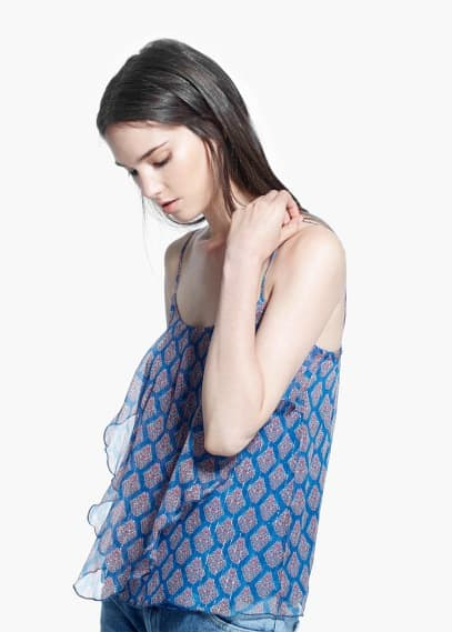 Printed silk top | MANGO