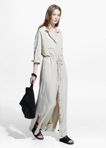 Длинное платье-рубашка | MANGO
