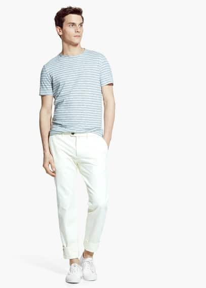 Flecked striped t-shirt | MANGO MAN