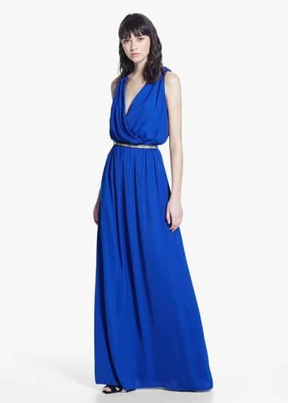Длинное струящееся платье | MANGO