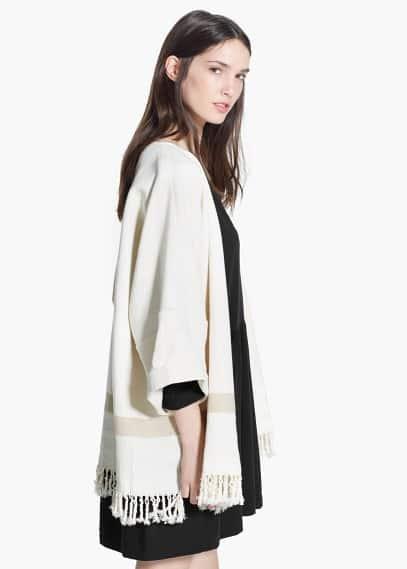 Fringe linen-blend poncho | MANGO