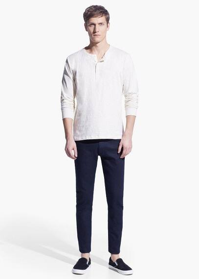 Slub-cotton henley t-shirt | MANGO MAN