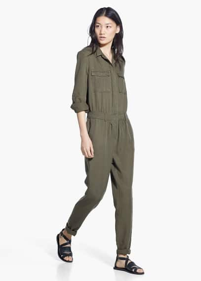 Long chest-pocket jumpsuit | MANGO