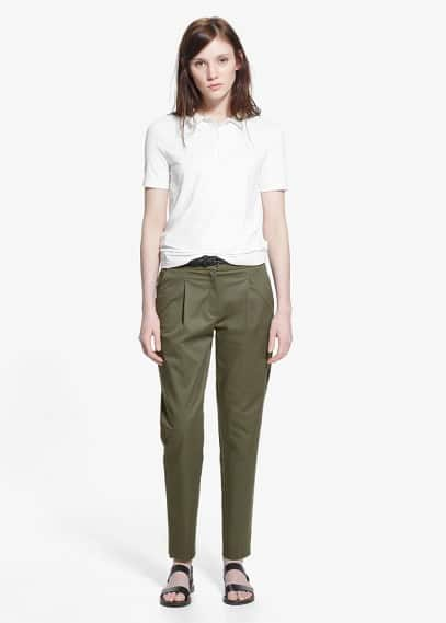 Pantalón pinzas algodón | MANGO