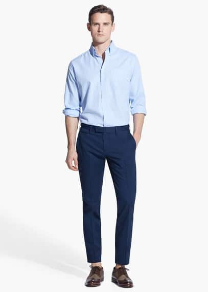 Tailored cotton-blend chinos | MANGO MAN
