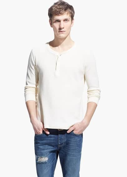 Textured henley t-shirt | MANGO MAN