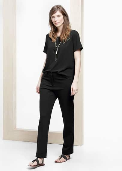 Rolled-up hem trousers | VIOLETA BY MANGO