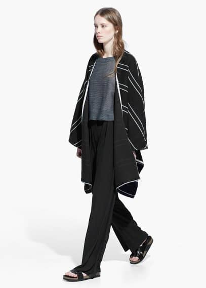 Striped bouclé cape | MANGO