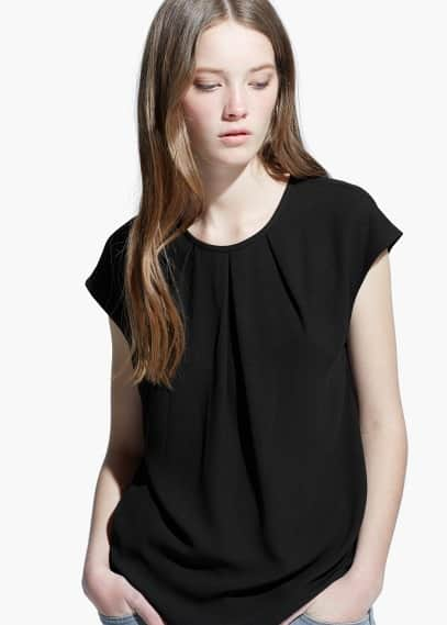 Pleated detail blouse | MANGO