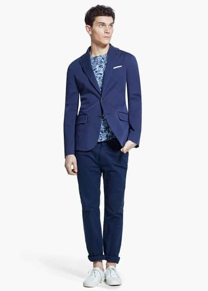 Slim-fit cotton blazer | MANGO MAN