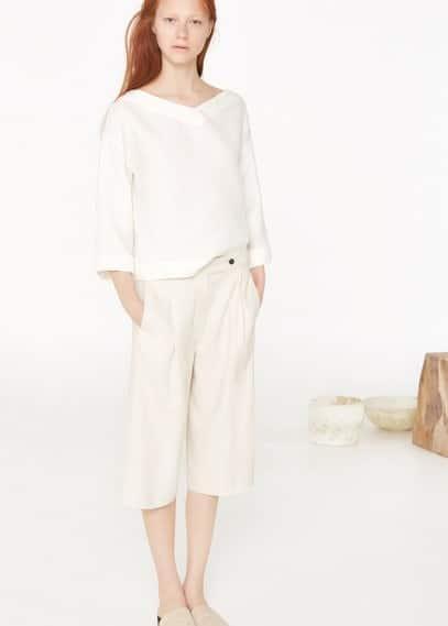 Premium - lniane spodnie capri | MANGO