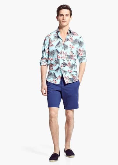 Slim-fit tropical-print shirt | MANGO MAN