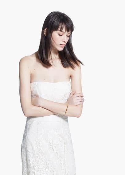 Online exclusive - strapless lace gown | MANGO