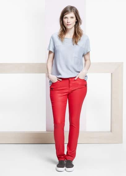 Coated slim-fit carmen jeans | VIOLETA BY MANGO