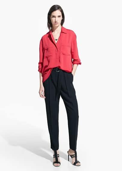 Креповые брюки с поясом