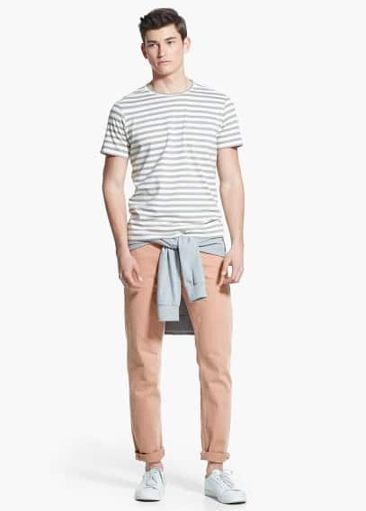 Striped t-shirt | MANGO MAN
