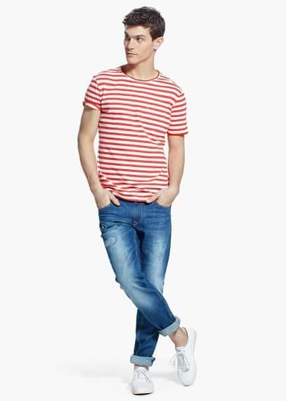 Striped t-shirt | MANGO MAN
