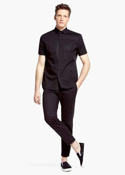 Slim-fit short-sleeve shirt | MANGO MAN
