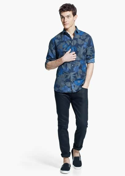 Slim-fit floral-print shirt | MANGO MAN