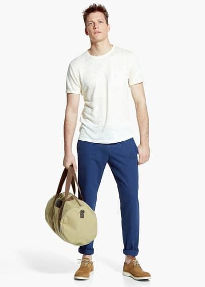 Camiseta lino bolsillo | MANGO MAN