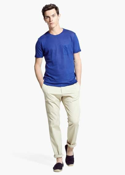 Linnen t-shirt met borstzak | MANGO MAN