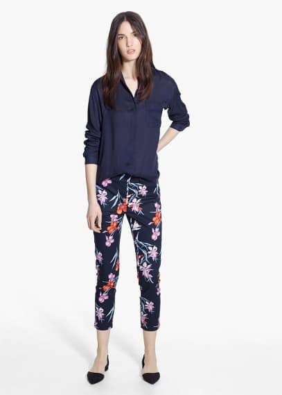 Printed cotton trousers | MANGO