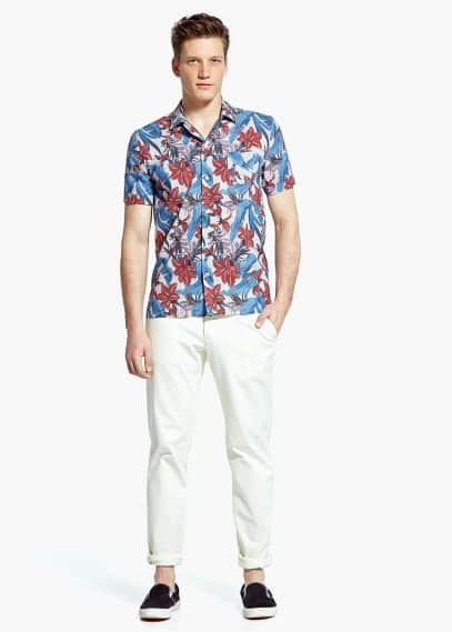 Slim-fit short sleeve tropical-print shirt | MANGO MAN