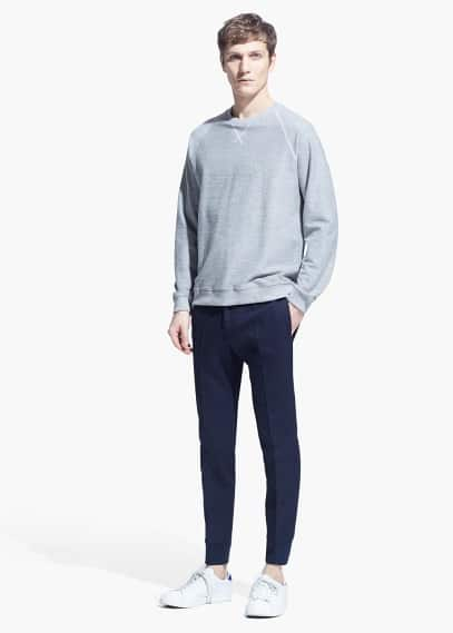 Cuffed-hem cotton chinos | MANGO MAN