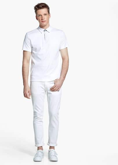Stretch cotton polo shirt | MANGO MAN