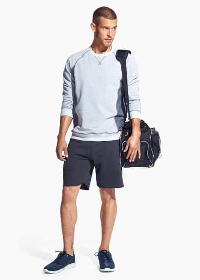 Paneled cotton training sweatshirt | MANGO MAN