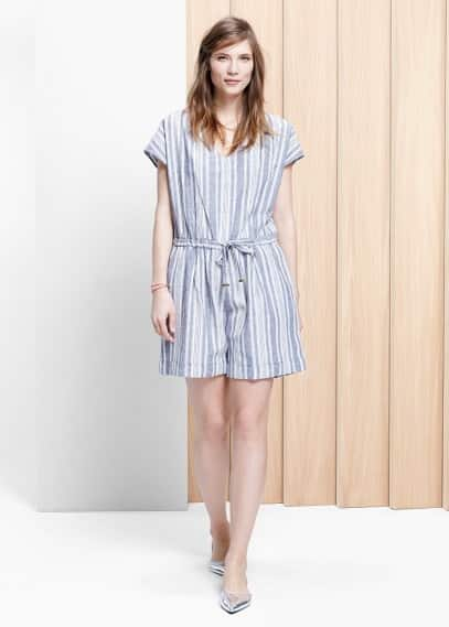 Linen-blend striped jumpsuit | VIOLETA BY MANGO