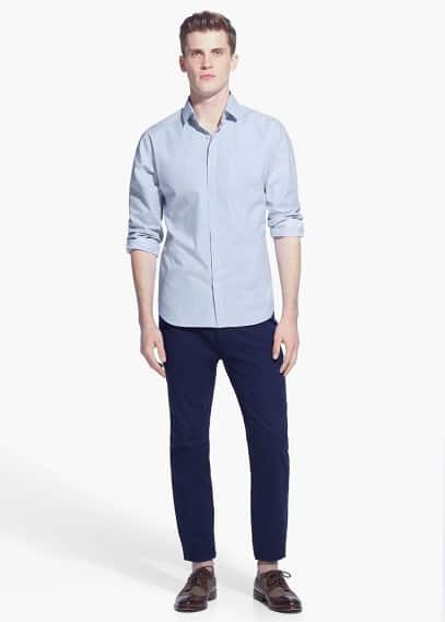 Modern slim micro check shirt | MANGO MAN