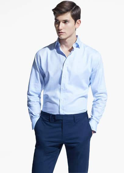 Slim-fit Tailored herringbone-pattern shirt