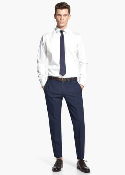Getextureerd tailored slim-fit overhemd | MANGO MAN