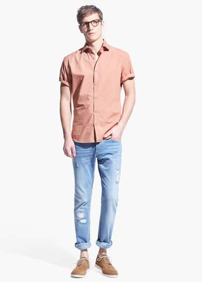 Slim-fit short-sleeve mosaic-print shirt | MANGO MAN