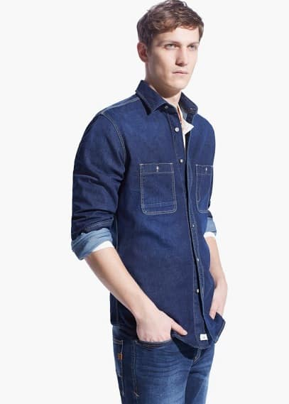 Denim classic-fit overhemd | MANGO MAN