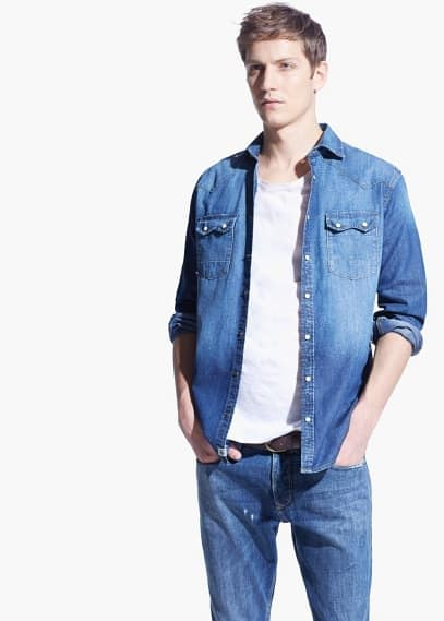 Donker denim slim-fit overhemd | MANGO MAN