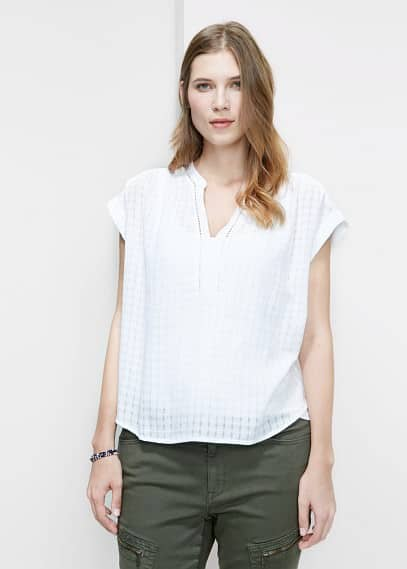 Check-pattern blouse | VIOLETA BY MANGO