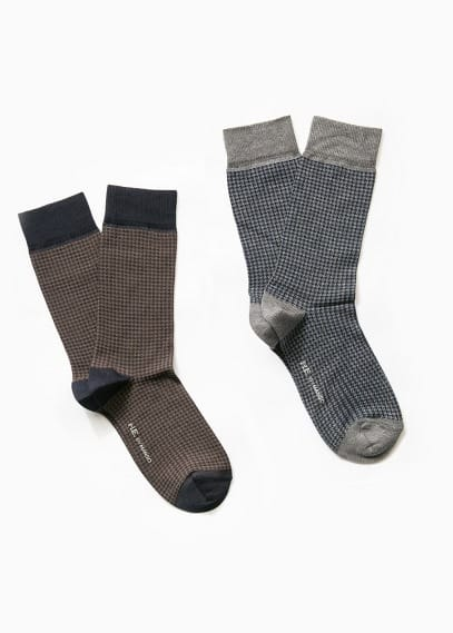 2 pack houndstooth socks