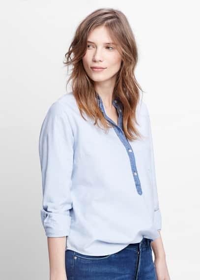 Oxford-hemd aus baumwolle | VIOLETA BY MANGO