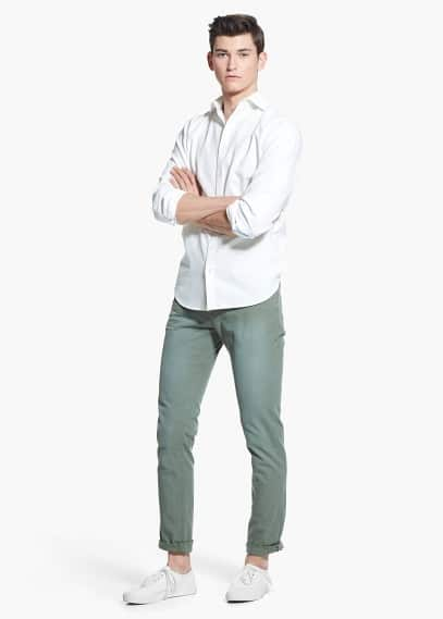 Slim-fit textured cotton shirt